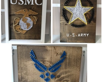 US Army, Marine, Navy and Airforce String art