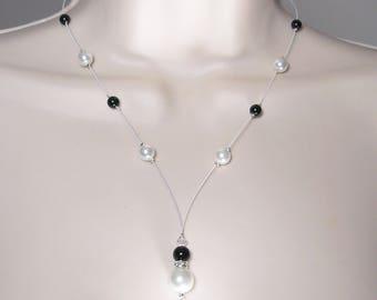 Wedding party necklace model Romantica Classica black/white