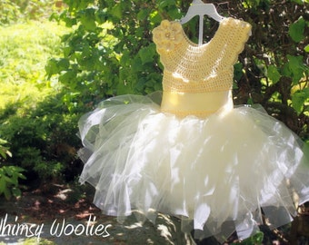 Crochet Dress Pattern: Crochet Flower Girl Dress, Crochet Tutu, 'The Lisa-Lynn Dress'