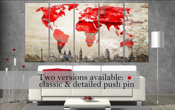 large world map red canvas wall art  canvas wall art art print large world map  decor wall decor large