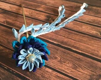Pique à cheveux Kanzashi Tsumami bleu camaïeu