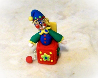 Micro Jack in the Box Very Tiny Artisan Hand Sculpted 12th Scale Dollhouse Toy