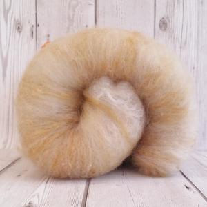 Spinning Fibre, Handcrafted Carded Batt, Lightly Textured Art Batt, Welsh Mule & Mohair, Felting Wool, Hand Processed Fleece, Mohair Curls