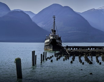 Shipping Freighter surrounded by Mountains in the Harbor at Squamish in British Columbia Canada No.0839 A Fine Art Boat Seascape Photograph