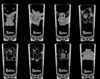 Personalised Pokemon Glass Eevee Pikachu Gengar Squirtle Snorlax Charmander Bulbasaur etched engraved handmade gift