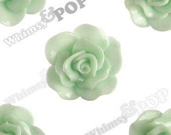 Large Seafoam Green Rose Cabochons, Flower Cabochons, Flower Cabs, Rose Flatback, 30mm x 28mm (R3-064)