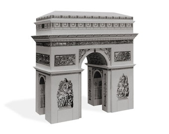Arc de Triomphe - architectural cardboard scale model || 16 cm = 6 inches high || white - gold - silver - steel color metallic paper
