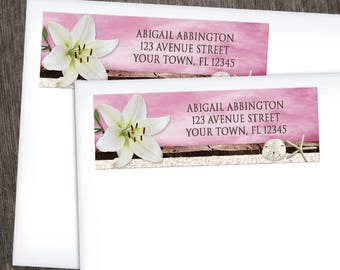 Beach Address Labels - Lily Seashells Sand - Magenta Pink Rustic Brown Wood and Beige Sand - Printed Address Labels