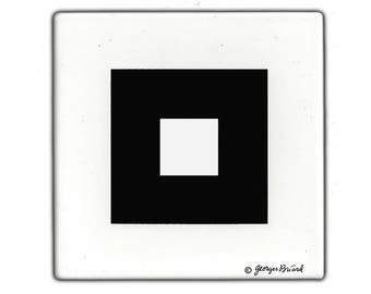 Georges Briard Black & White Enameled Tile 1960s