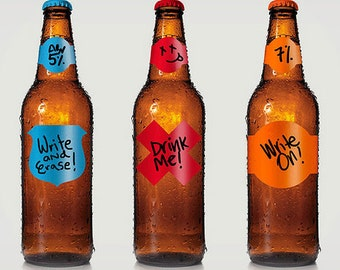 Beer Making Gifts - Labels - bottling couldn't be faster or funner - 48 qty - includes marker