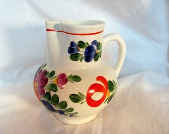 Pottery Vase from Czechoslovakia / Hand Painted Floral Czech Ceramic Pitcher Vase / Vivid Colors 1930s Flower Vase Pitcher