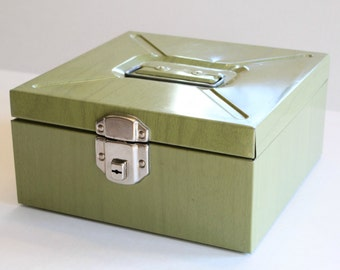 Vintage Green Metal Flie Storage Box