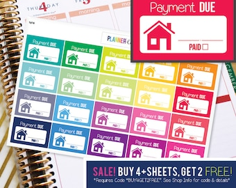 House Payment Mortgage Due Planner Stickers to be used with Erin Condren ECLP, Happy Planner, Recollections (#1016)