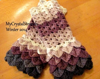 "Crochet Crocodile Stitch Fingerless Gloves in Variegated Plum/Grey - ""Limited Stock"""