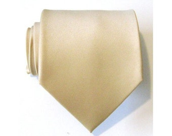 Mens Tie. Vanilla Silk Necktie With *FREE* Matching Pocket Square Set