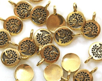 Bird In A Tree Charms, TierraCast Charms, Small Gold Bird in a Tree Drops, Antiqued Gold Plated Lead Free Pewter, 6 or More, 5426