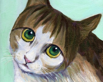 cat art print acrylic painting - A Cat With Innocent Look - green eyed cat painting, cat lover gift and wall art, A3 print, 6x8 print 8x10