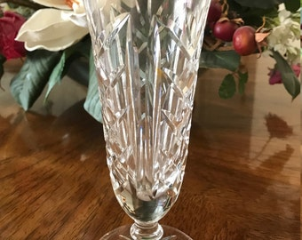 "Waterford Cut Crystal Glass Kilbarry Ashbourne Footed Rose Vase 7"" Tall"