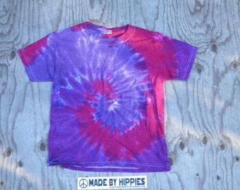 Vortex Spiral Tie Dye T-Shirt (Gildan Youth Size S) (One of a Kind)