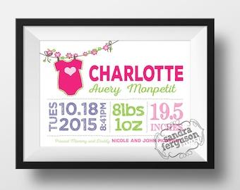 8x10   11 x 14 Personalized Birth Announcement Printable Wall Art Horizontal   nursery art   baby - Girl or Boy - DIGITAL FILE