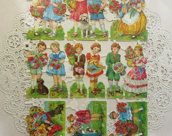Vintage EAS Germany Die Cut Paper Scraps Children And Their Pets Circa 1950s  EAS 3006