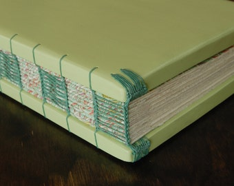 Wood Wedding Guest Book or Journal - Summer Wedding -Lime Green Turquoise Floral Wedding spring summer Wedding alternative - Ready to Ship