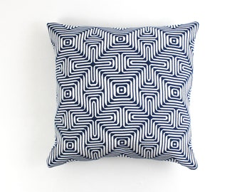 Trina Turk Amazing Maze Indoor/Outdoor  for Schumacher Pillows in Ocean (comes in several colors)