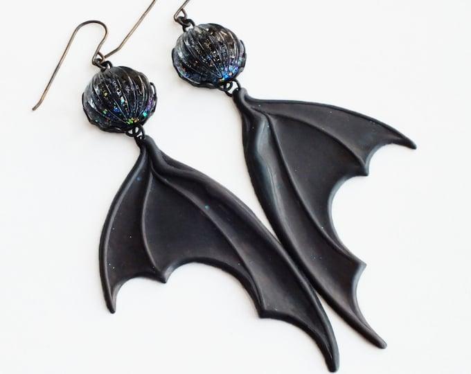 Bat Wing Earrings Large Black Wing Earrings Dragon Wing Earrings Black Oxidized Metal Earrings Statement Bat Jewelry Black Glitter