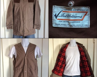 1950's Ted Williams Sears Roebuck cotton Hunting Jacket plaid flannel lined Removable Vest looks size M, 2 in 1