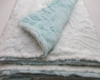 White and Aqua/Sea Glass Minky Baby Blanket - Paisley - Made to Order