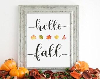 Hello Fall, Printable Art, Inspirational Print, Simple Print, Farmhouse, Instant Download, Rustic, Seasonal Printable