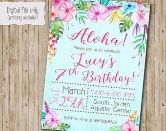 Aloha Birthday Invitation, Luau Birthday Invitation, Watercolor Floral Birthday Invitation, Aloha, Luau Invitation, Summer, Swim Party