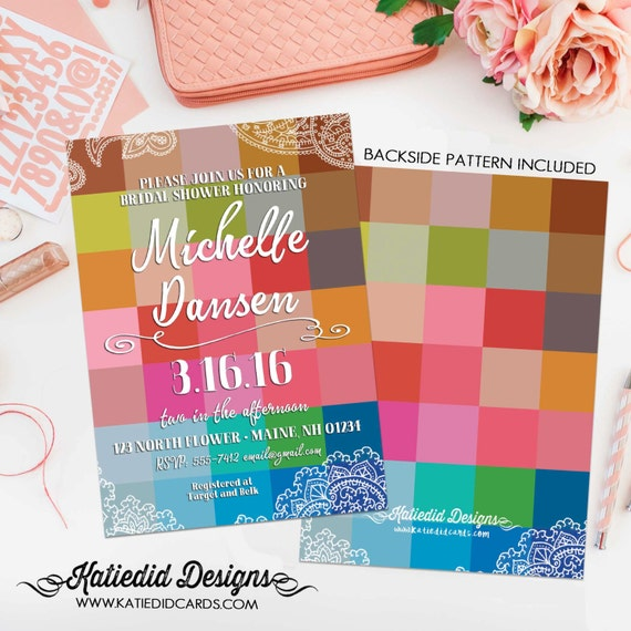 Couples Bridal Invitation gay couple shower surprise gender reveal co-ed baby shower Rehearsal Dinner color blocks 311 Katiedid Designs
