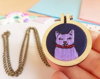 Purple Cat Necklace - Cat Lover Jewelry - Necklace Gift - Crazy Cat Lady - Mini Embroidery Hoop - Embroidery Necklace - Cat Pendant - Retro