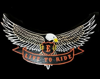 Live to Ride hand routered custom plaque wall decor sign
