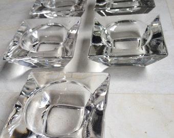 Square Glass Salt Cellars Clear Open Dish Vintage Set 5 - #4410