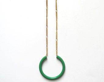 Kelly Green Geometric Hoop Necklace / Repurposed Minimalist Circular Pendant