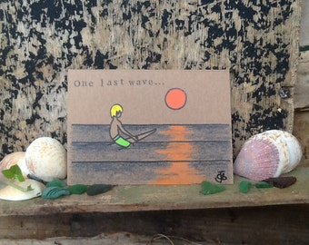 Surf art greetings card 'One last wave' recycled card & hand coloured