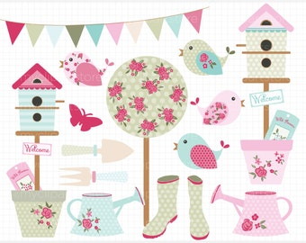 Clipart - Shabby Chic Garden, gardening clipart, bunting clipart, shabby chic roses, birdhouse clipart, spring clipart, potted plants