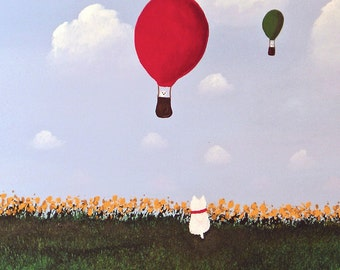 Westie Terrier Dog Folk Art Print Todd Young painting BALLOON RIDE