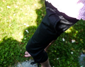 Black cropped  trousers for girls