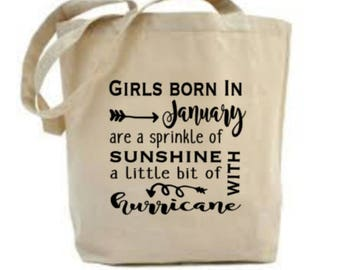 January Birthday Gift, January Bag, January Birthday Idea, Ladies Girls Birthday Present, Tote Bag, Cotton Bag, Birthday Gift for Her,