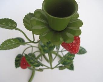 Vintage Enamel Strawberry Candle Holder Made in Japan