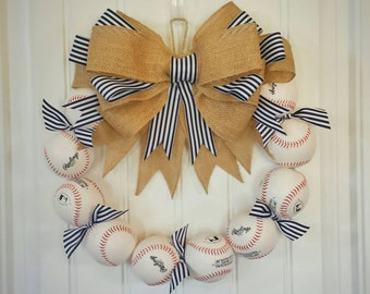 Baseball Wreath - Made with REAL Baseballs!! A perfect gift for the avid fan! Coach's Gifts- MLB- Softball- Baseball Team
