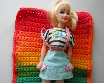 Crochet Barbie Fashion Doll Blanket Handmade Favorite Stripes