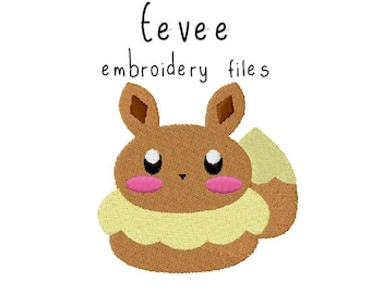 Pokemon Eevee EMBROIDERY MACHINE FILES pattern design hus jef pes dst all formats Instant Download digital applique kawaii cute