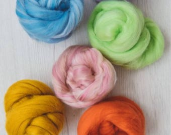 Wool blend yarn, Merino wool, Tussah silk tops, Chunky yarn, Arm knitting, Felting, Giant knitting, 1kg/2.2 lb
