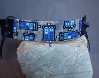 Doctor Who Tardis hand beaded bracelet