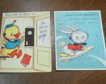 12 Midcentury greeting cards with envelopes - mostly get well soon - 1950s-1960s cartoon greeting cards - midcentury cards