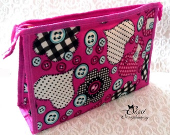 NOVELTY MAY 2015 SEAMSTRESS MULTICOLORED BAG STORAGE NEEDLE SEWING SCRAP SUPPLY BUTTON FUCHSIA PINK POUCH